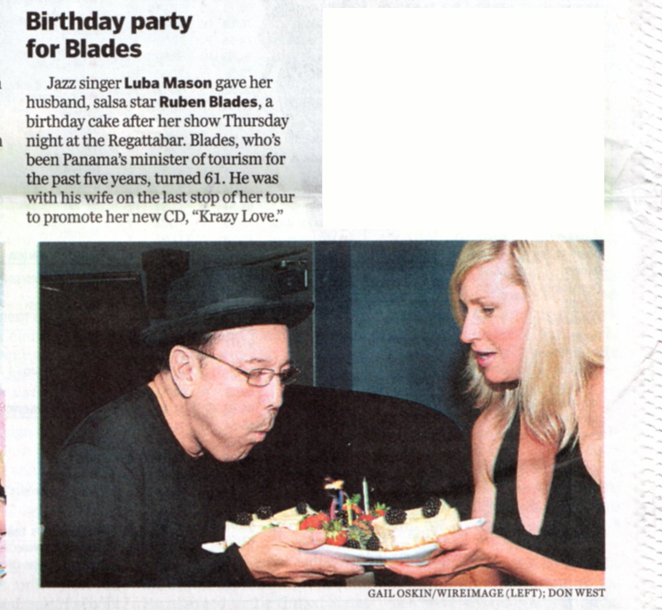 Boston Globe                                                   covers Rubén's                                                   birthday